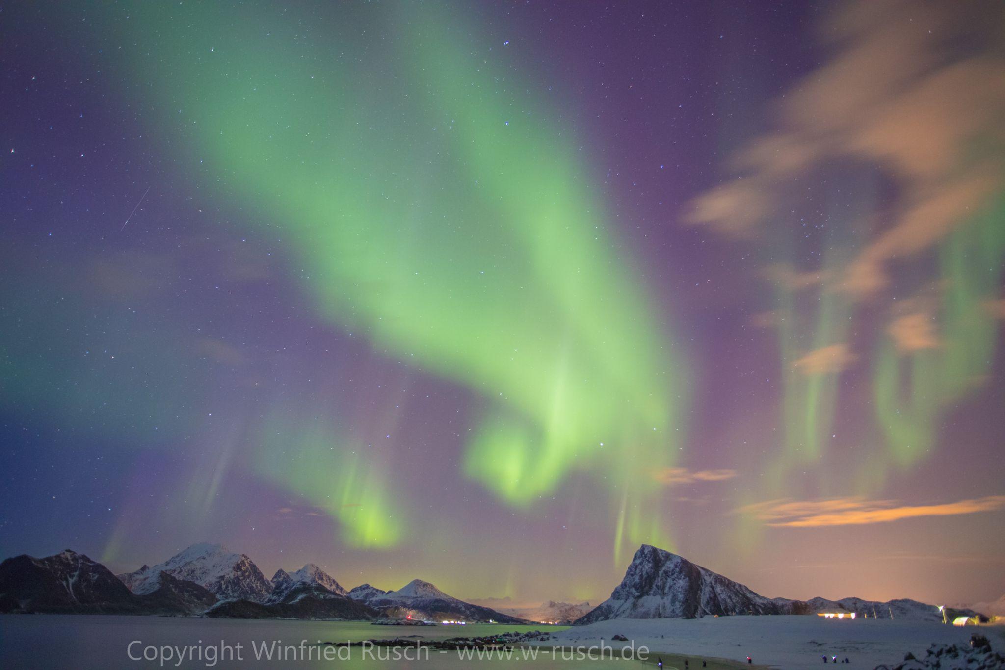 Aurora borealis auf den Lofoten, Norway