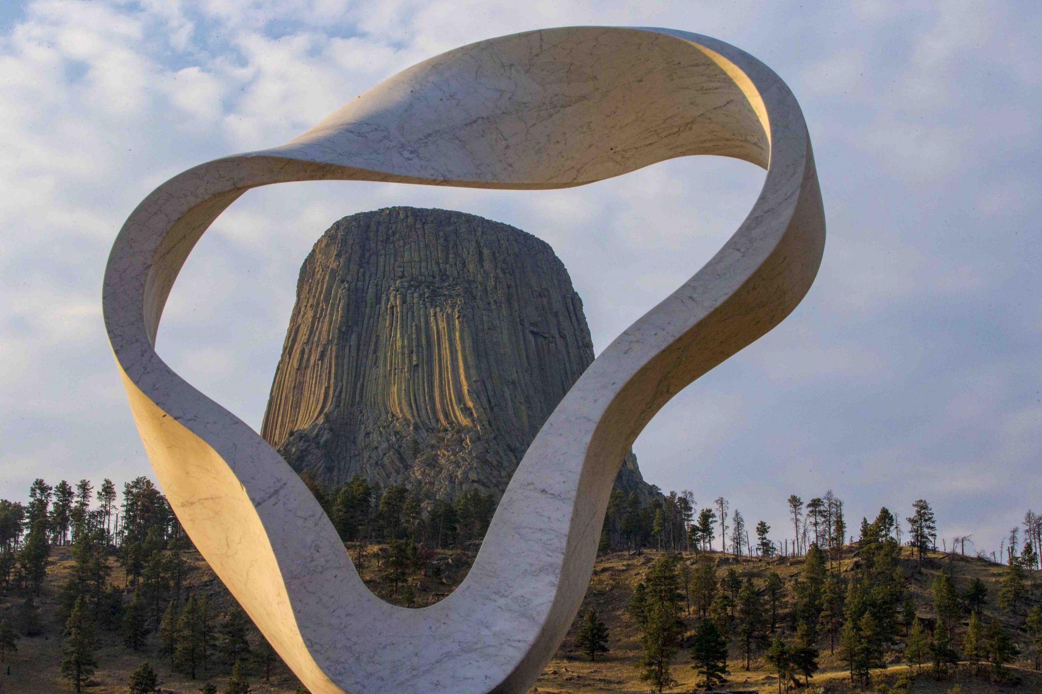 Devlis Tower through the Circle of Sacred Smoke Sculpture, USA