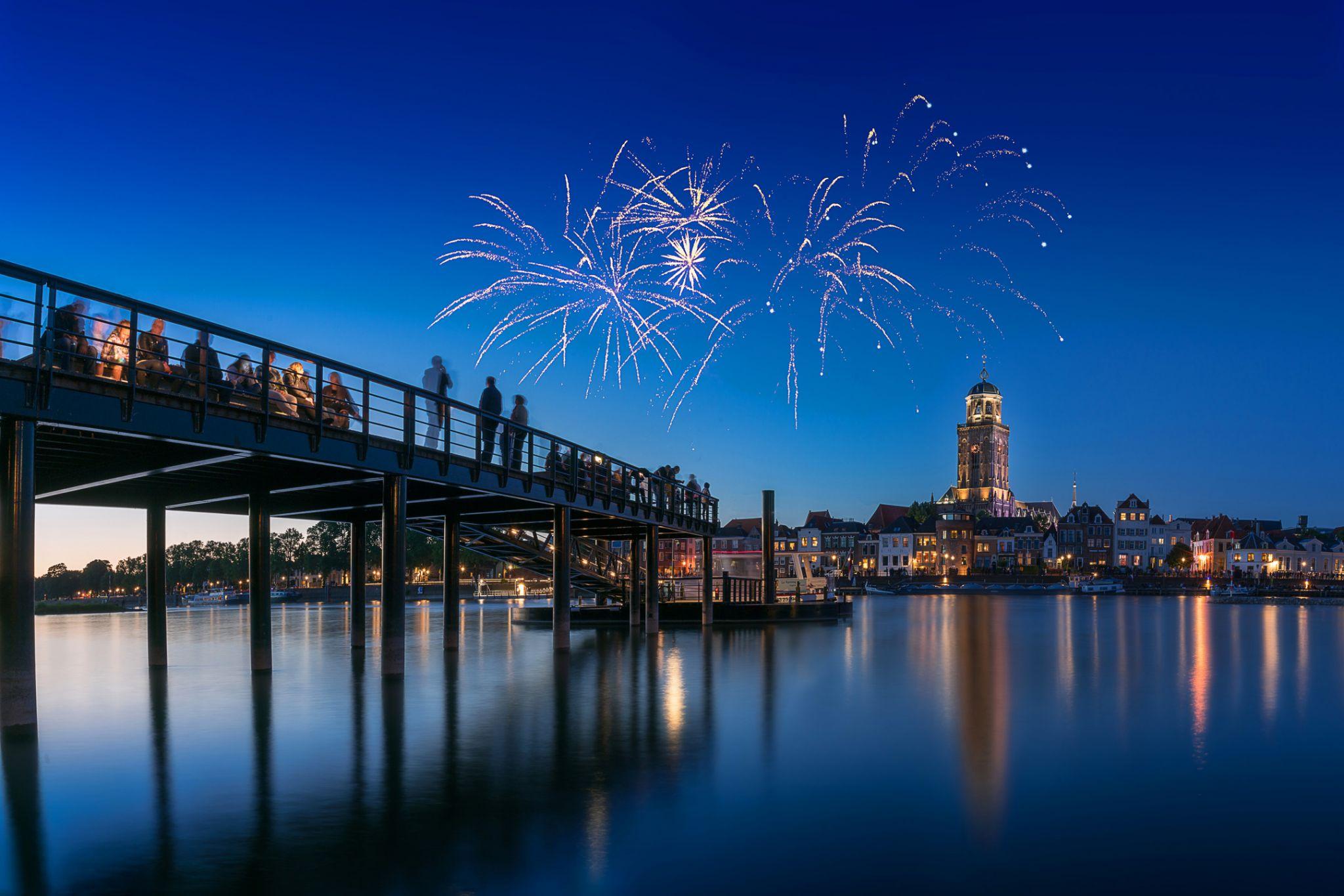 Fireworks During City Fair Deventer, Netherlands