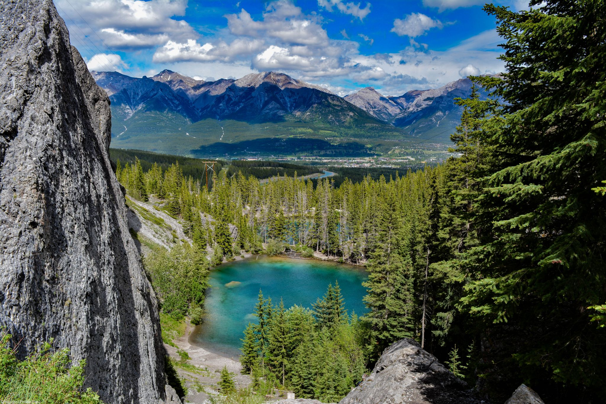 Grassi Lakes , View over Canmore, Canada