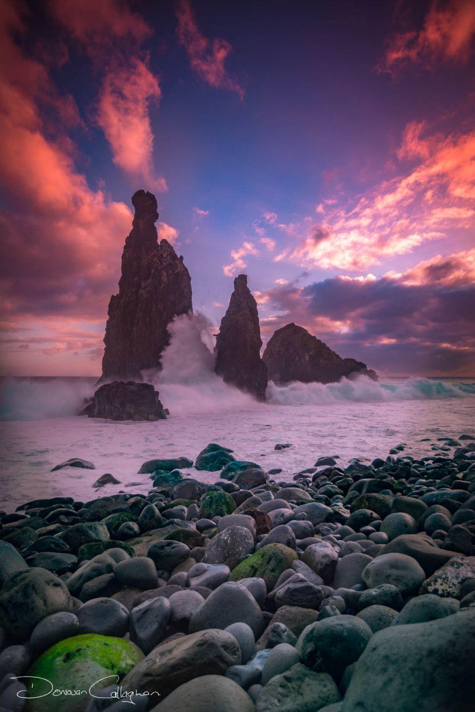 Madeira Ribeira da Janela Stacks sunrise, Portugal