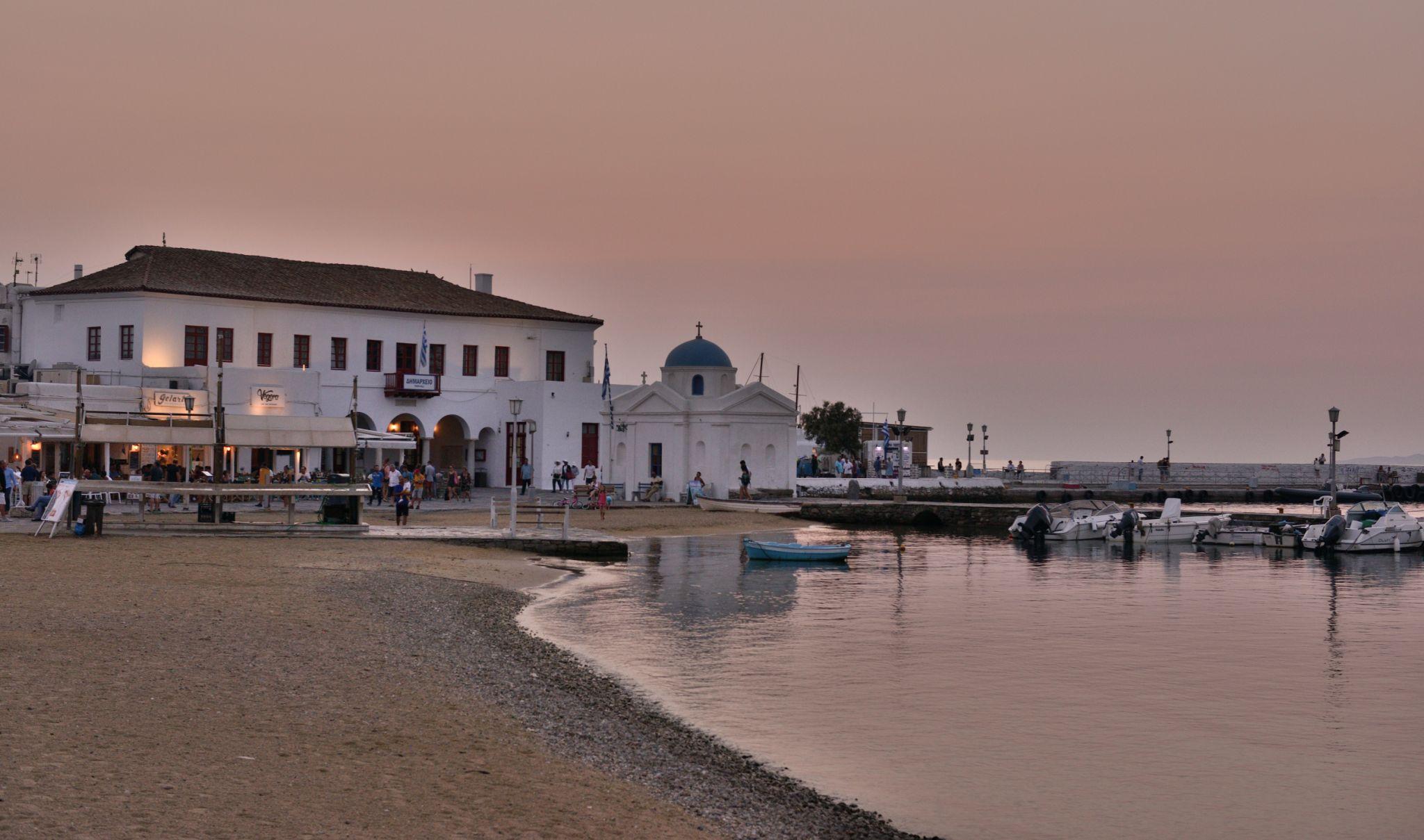 Mykonos' Old Port at sunset, Greece