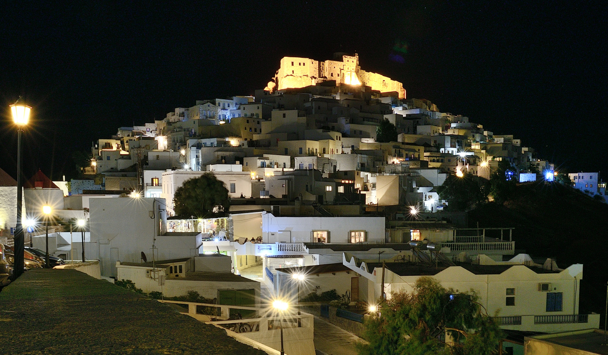 Night view on Astypalaia, Greece