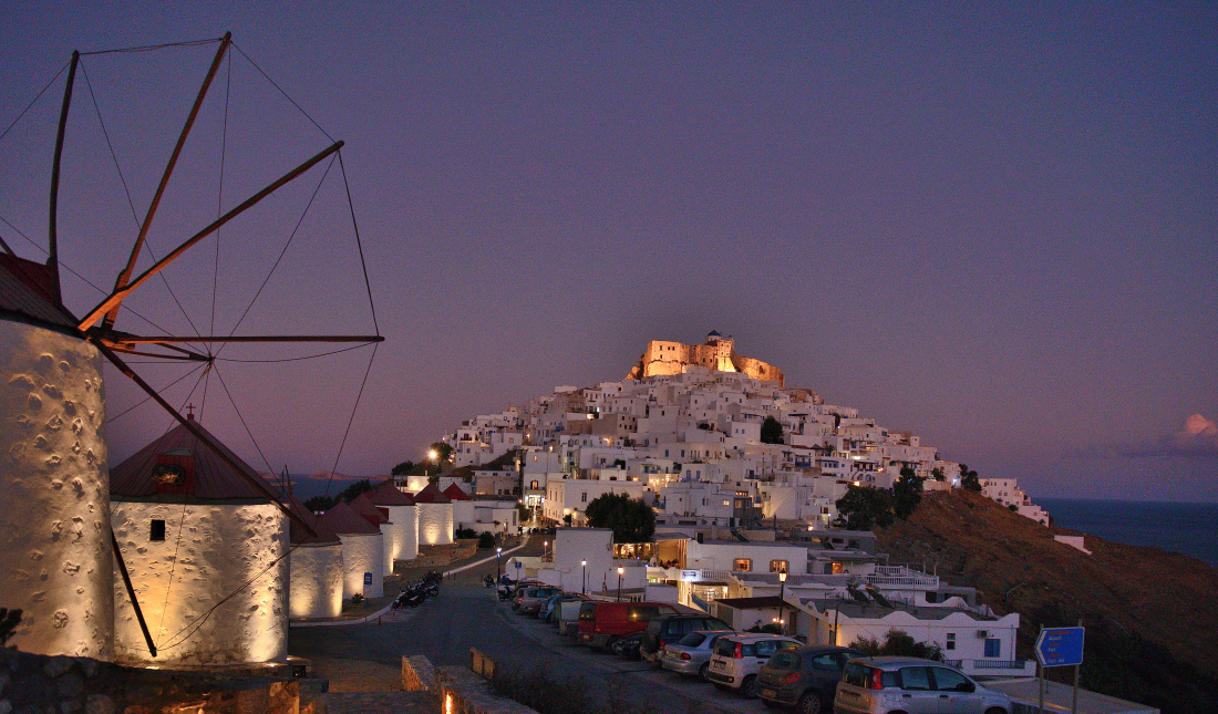 Night view on Astypalaia Island, Greece