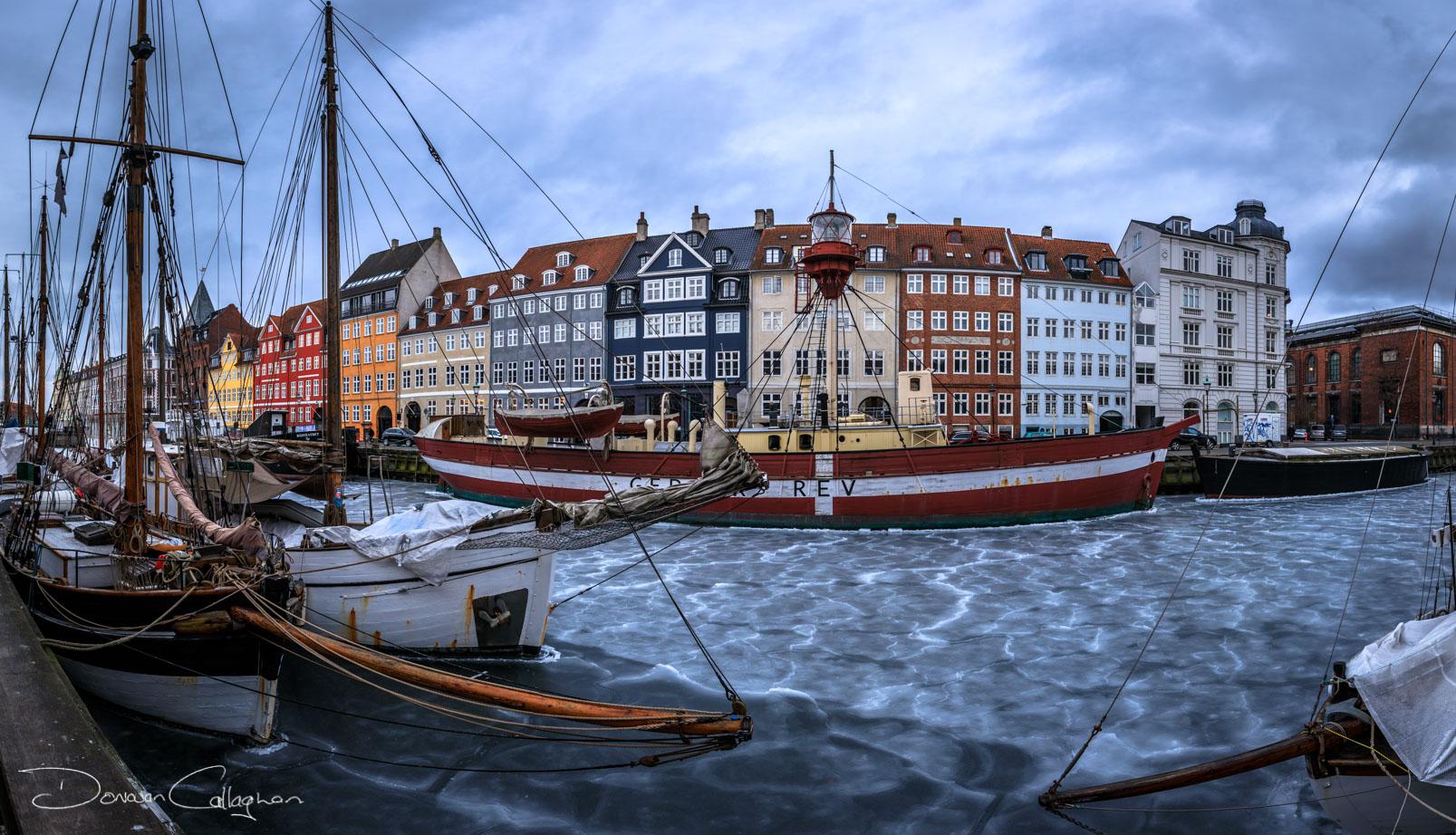 Nyhavn frozen river, Denmark