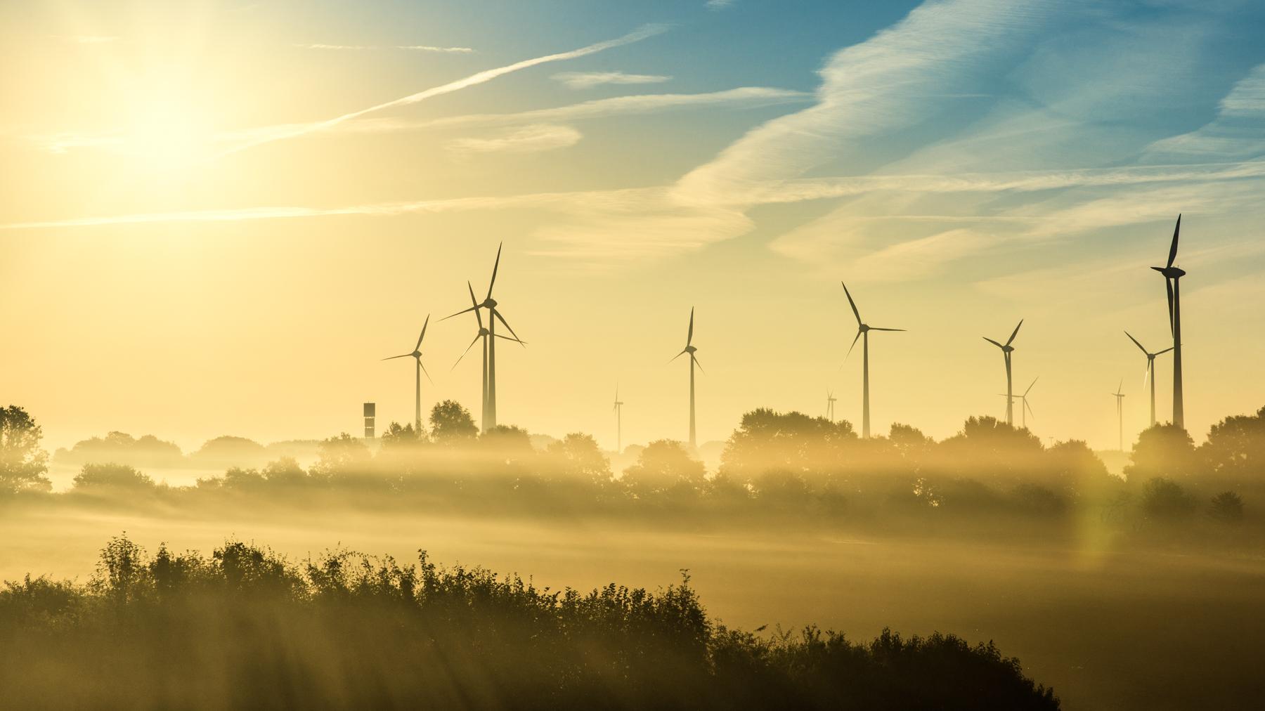 Rising sun in Lower Saxony, Germany