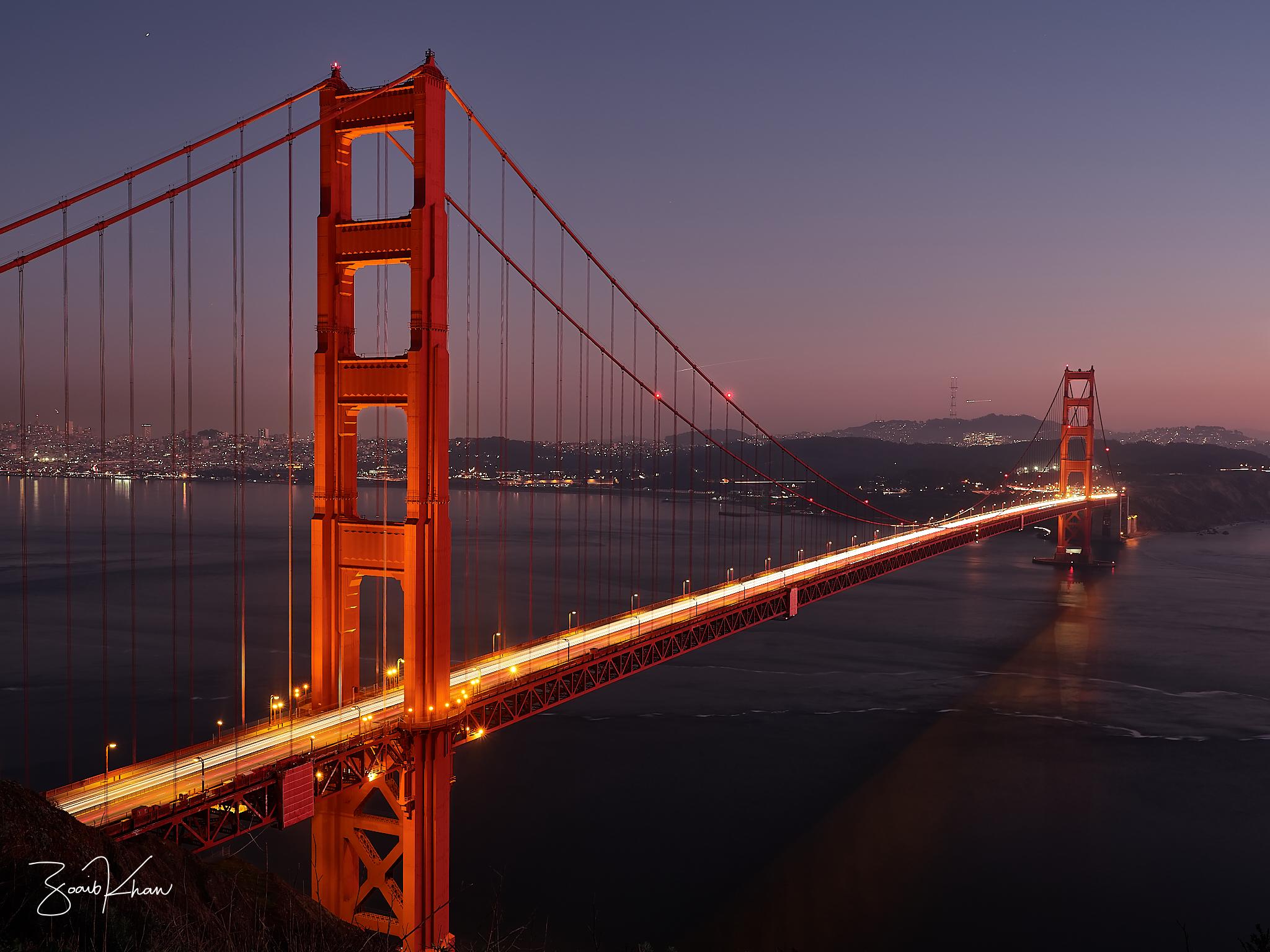 Sunset at Golden Gate Bridge, USA