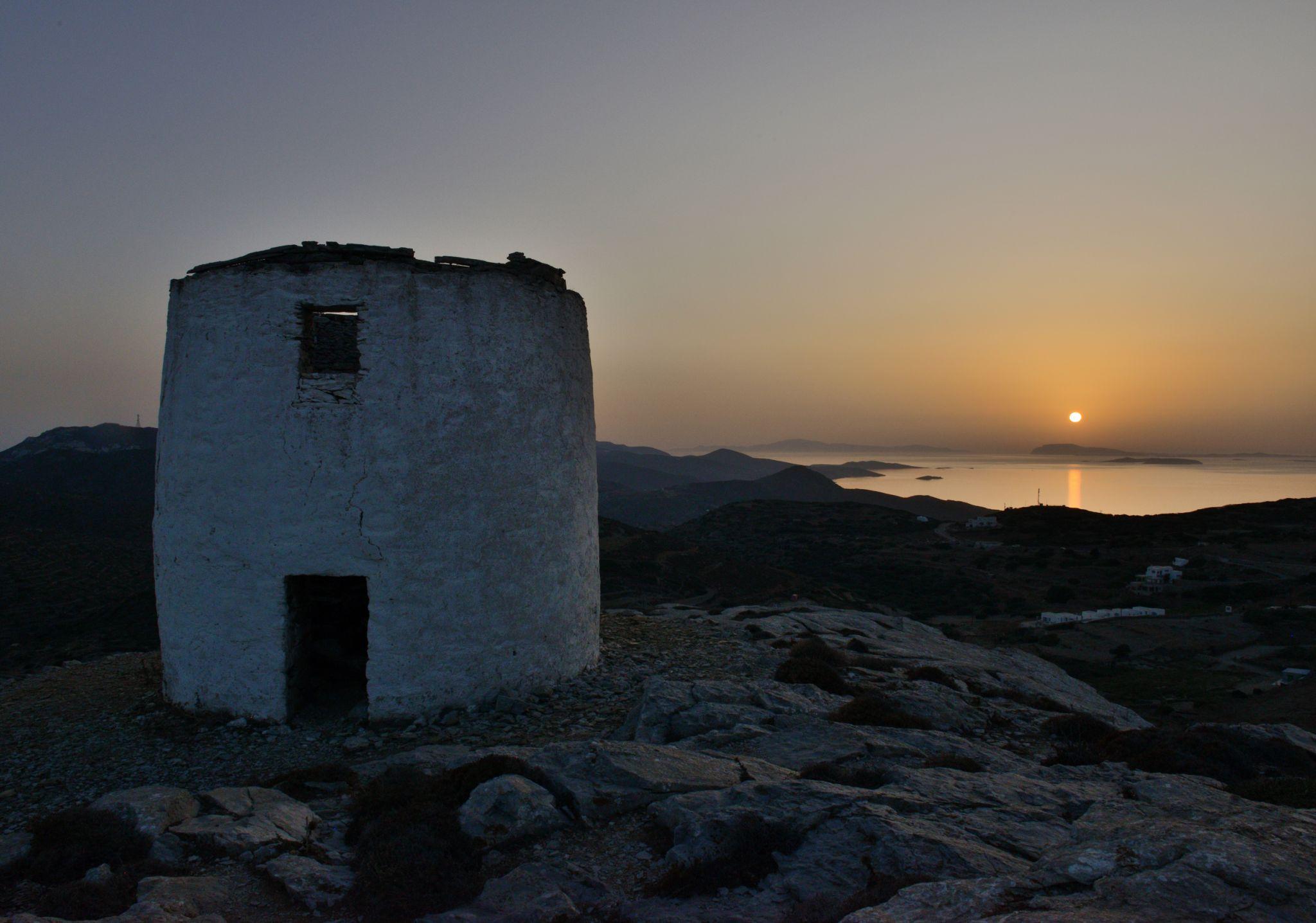 Sunset on Amorgos old mills, Greece