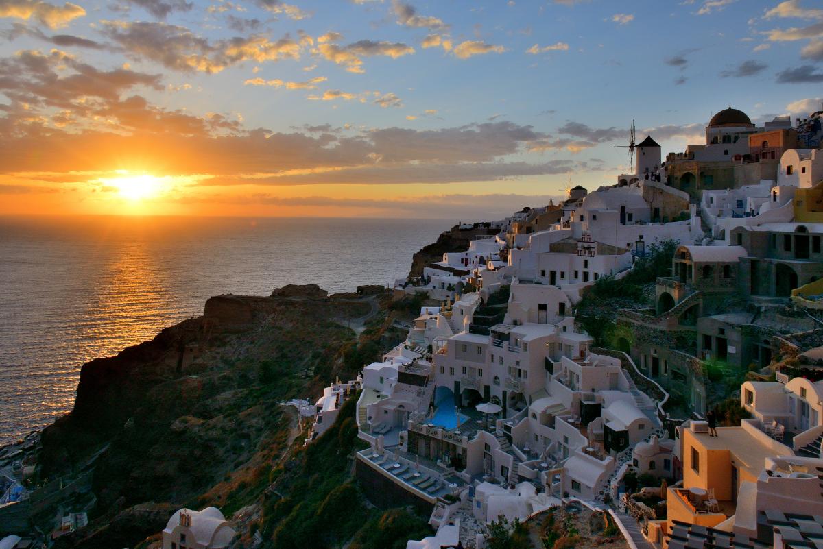 Sunset on Oia, Santorini, Greece