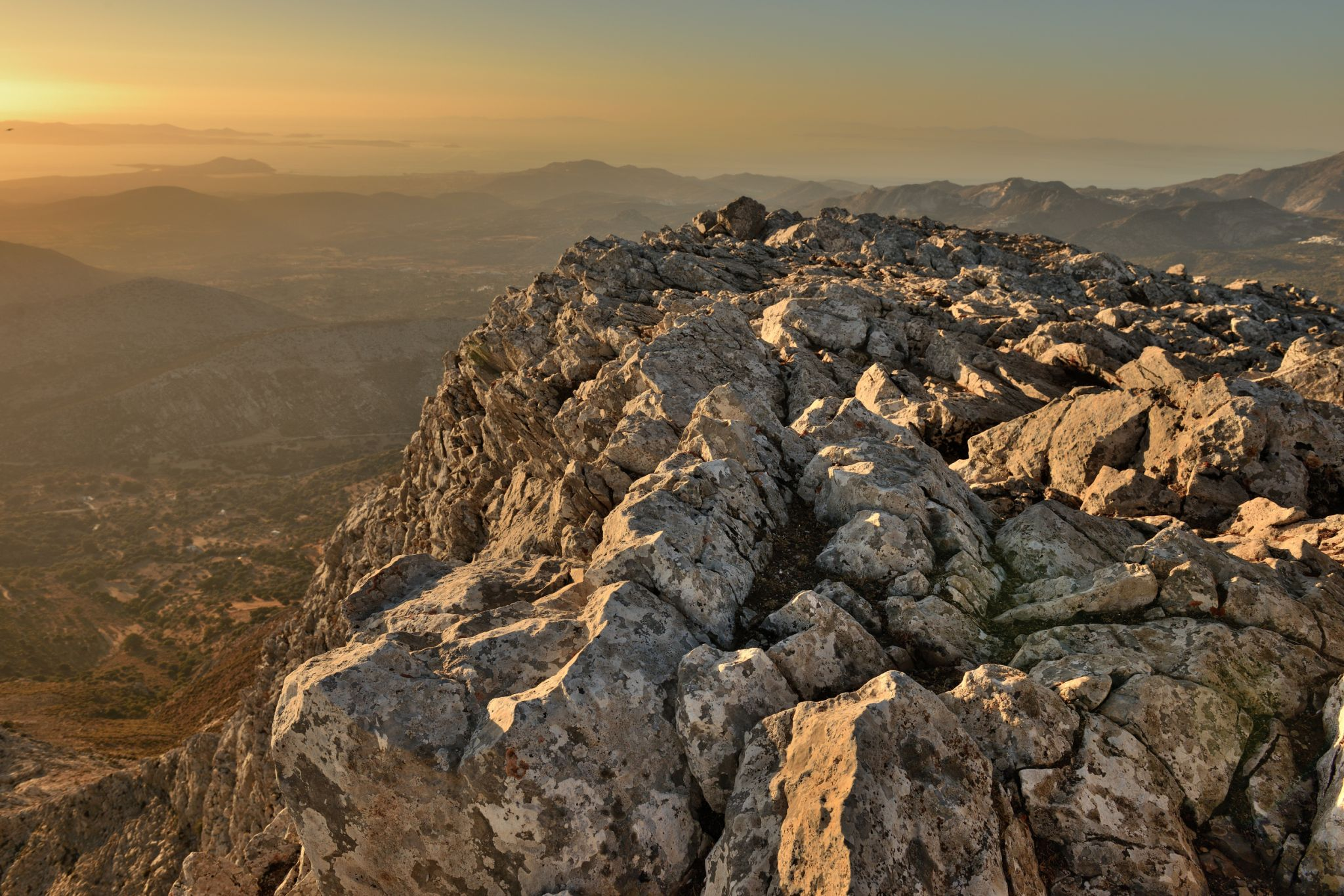 The top of mount Zas, Naxos at sunset, Greece