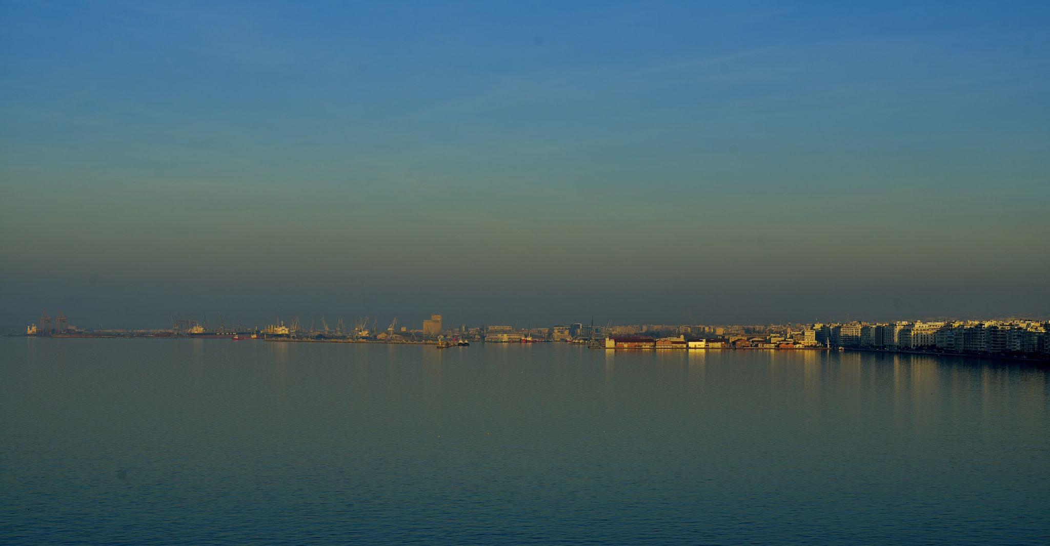 Thessaloniki shore line at dawn, Greece