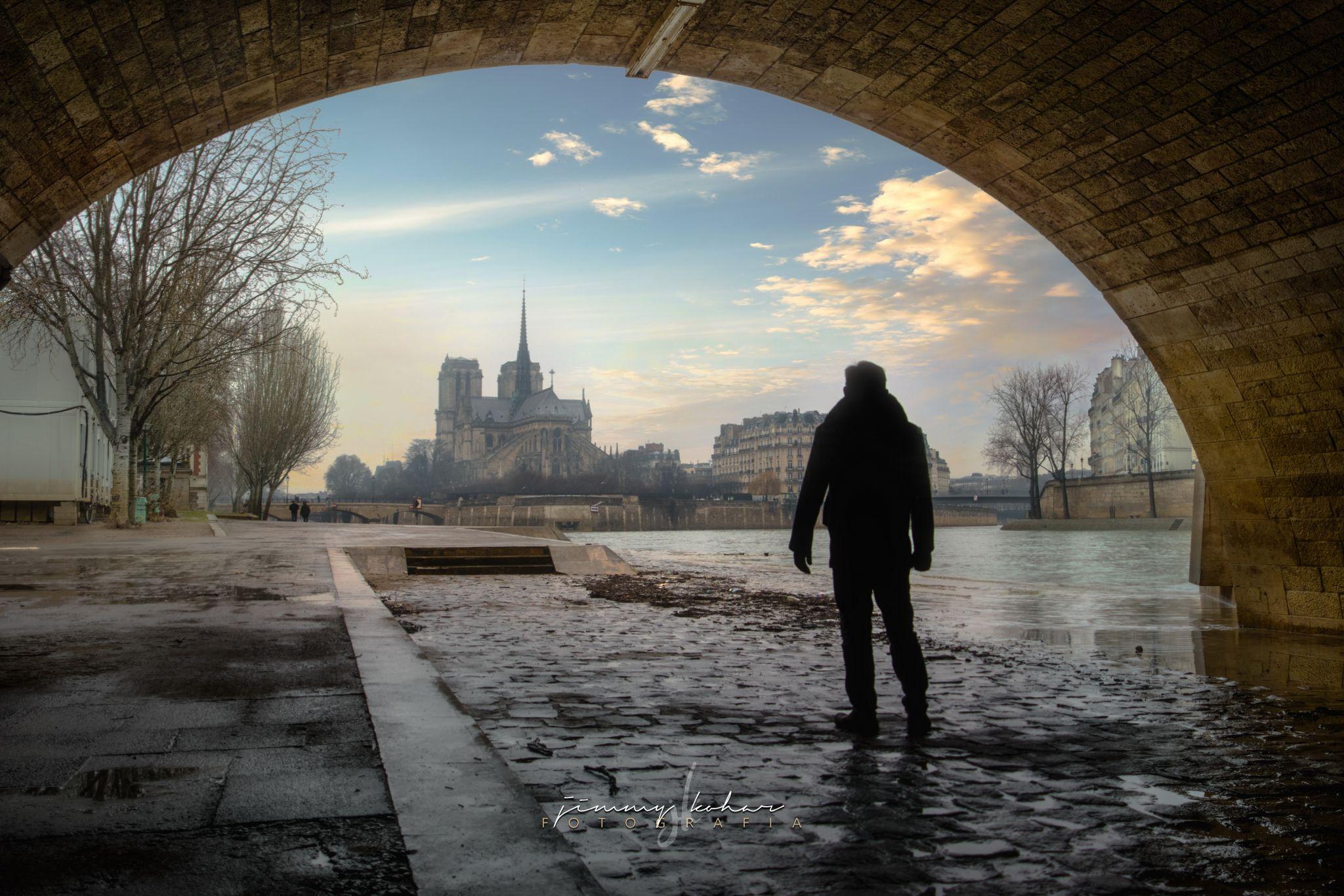 Tunnel into Notre Dame de Paris, France