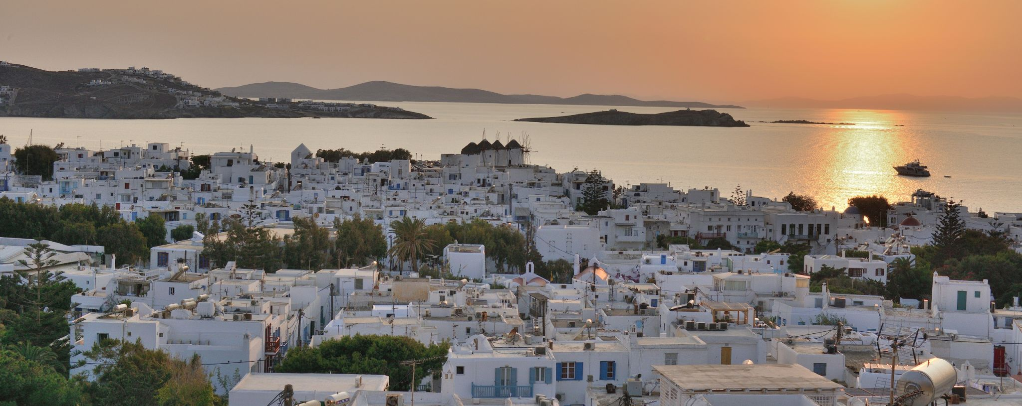 View over Mykonos town at sunset, Greece