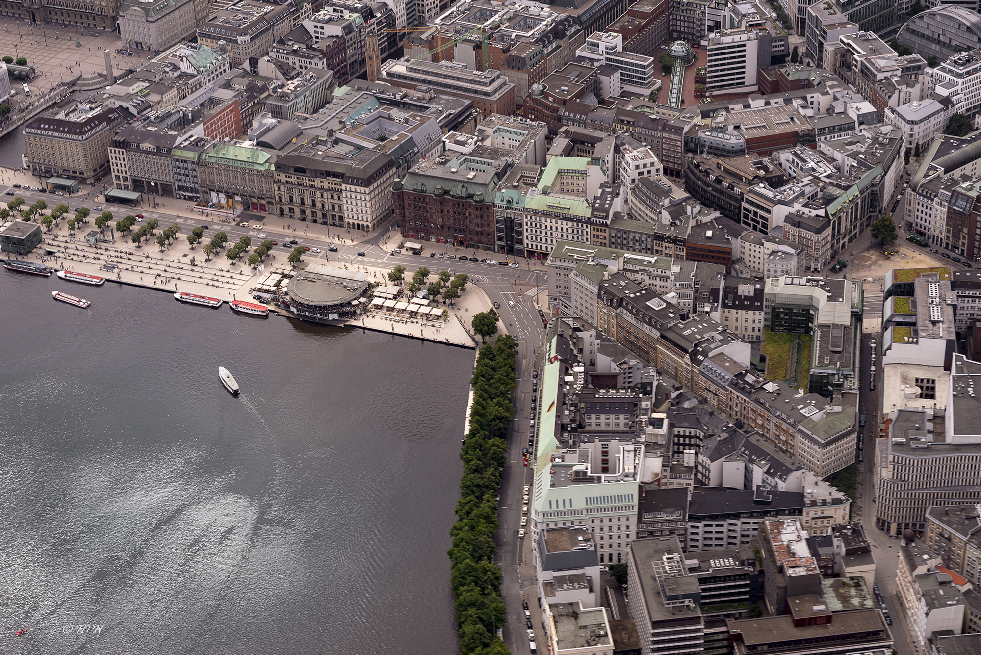 Aerial view of the Binnenalster in Hamburg, Germany