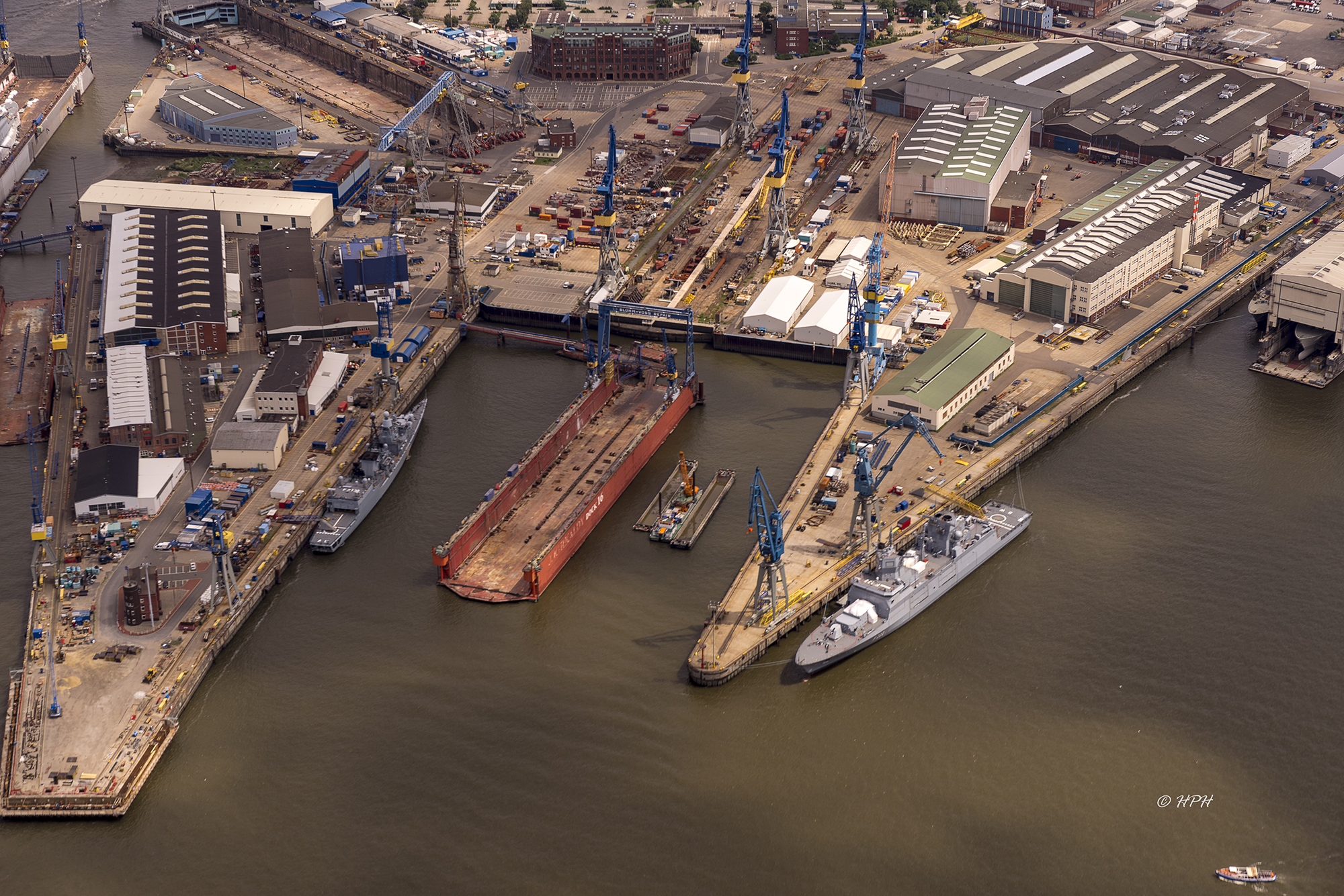 Aerial view of the Elbe river in Hamburg, Germany