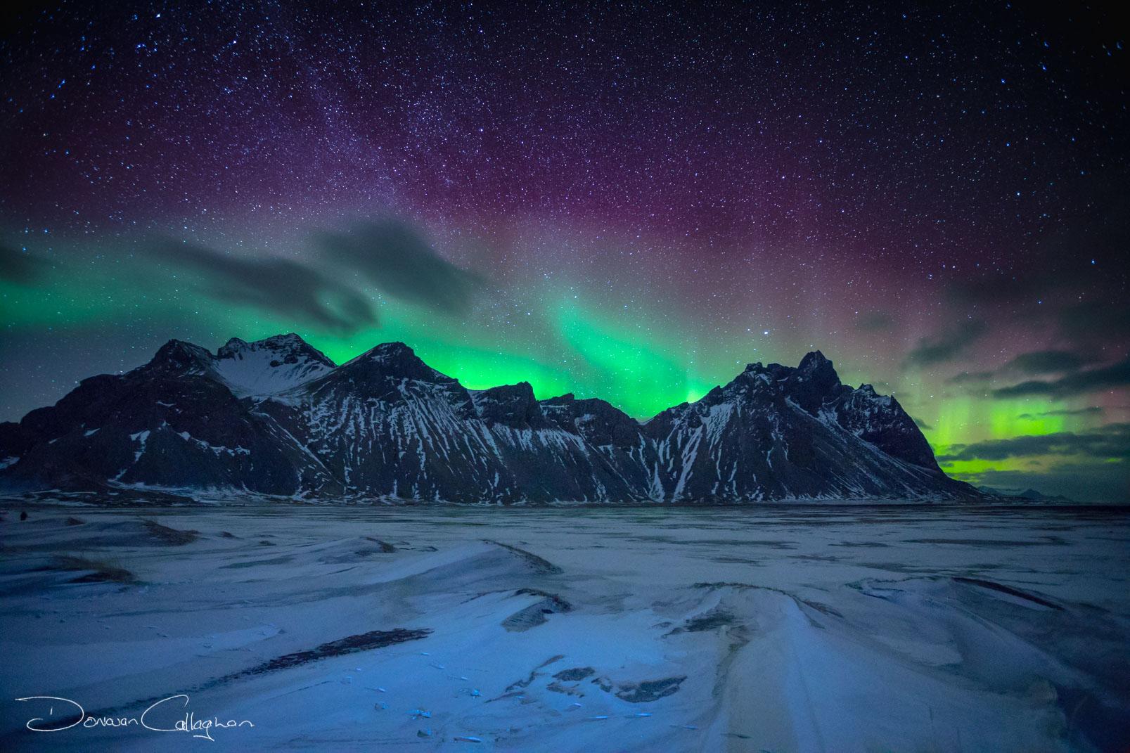 Aurora borealis at Vestrahorn Mountain, Iceland