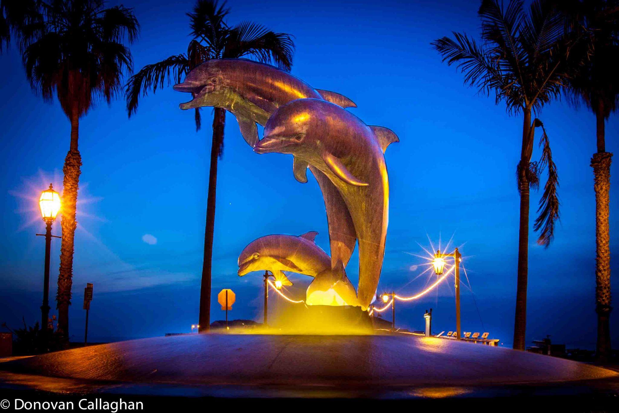 Dolphin Fountain at night Santa Barbara, USA