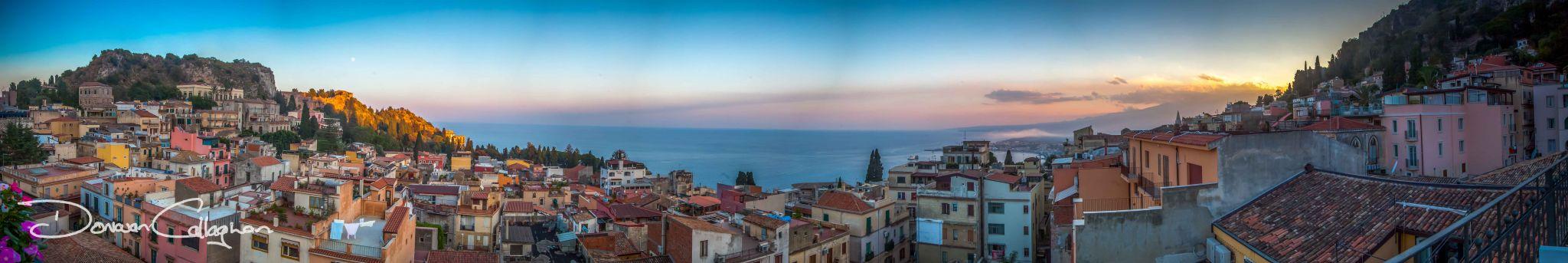Panorama of city scape Taormina, Italy