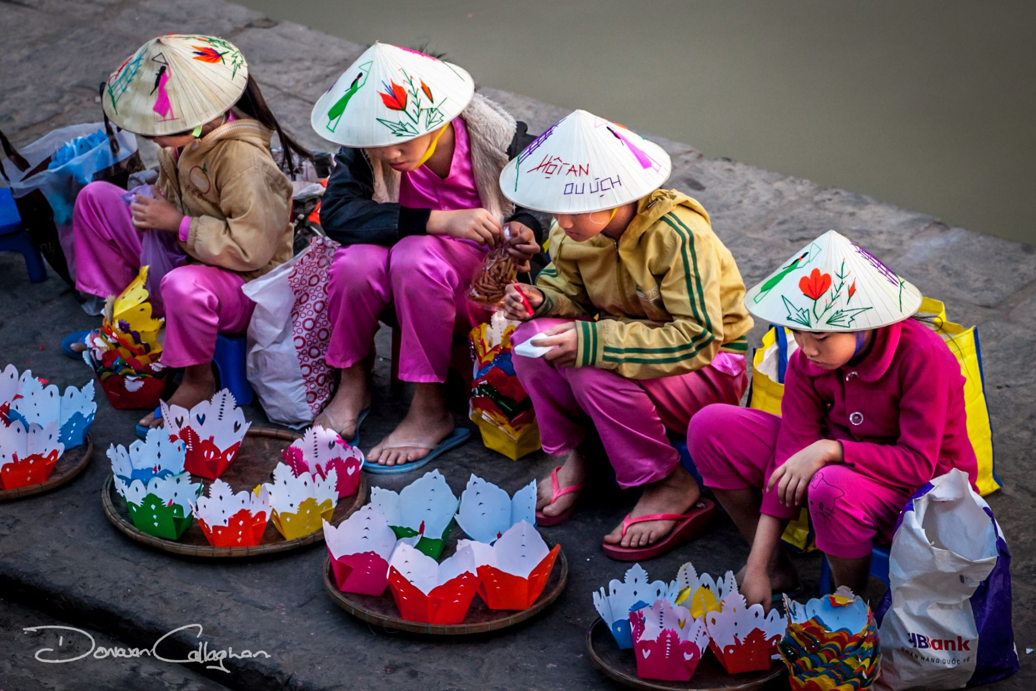 Paper Boat Candle sellers Hoi An, Vietnam