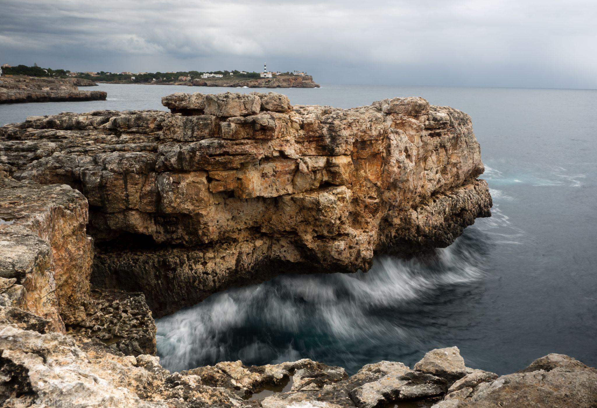 rocky coast of Portocolom, Spain