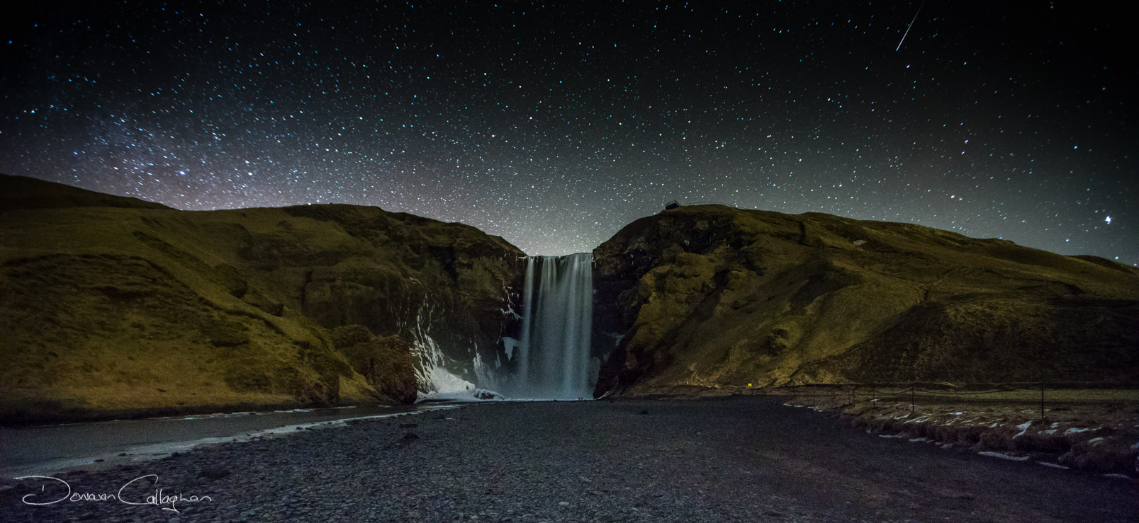 Skogafoss waterfall at night, Iceland
