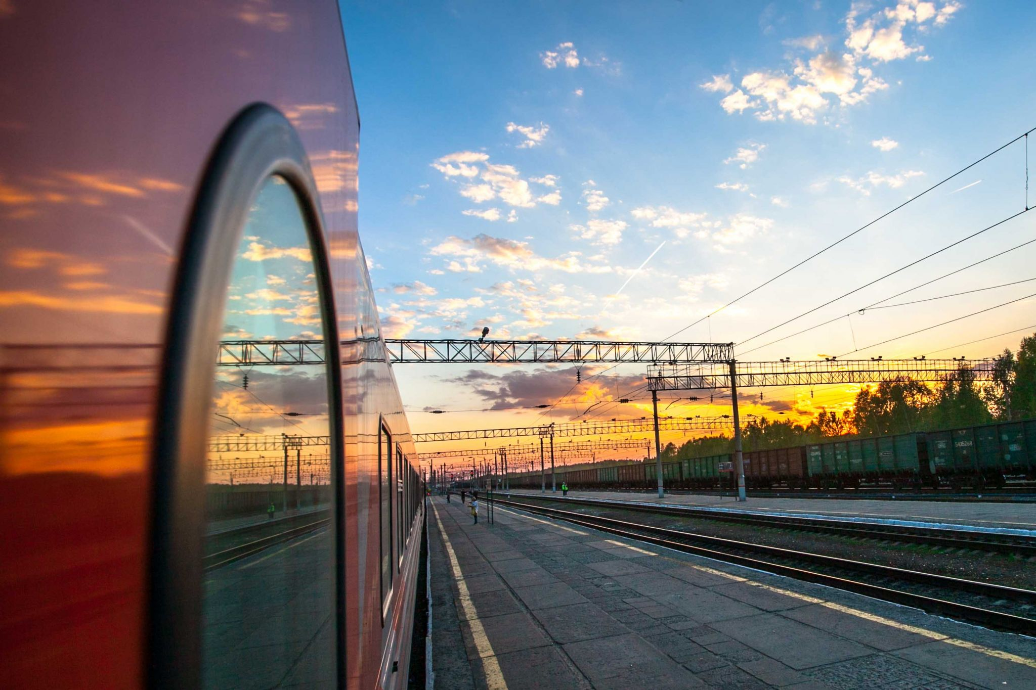 Sunrise on the Trans Siberian Railway Yekaterinburg, Russian Federation