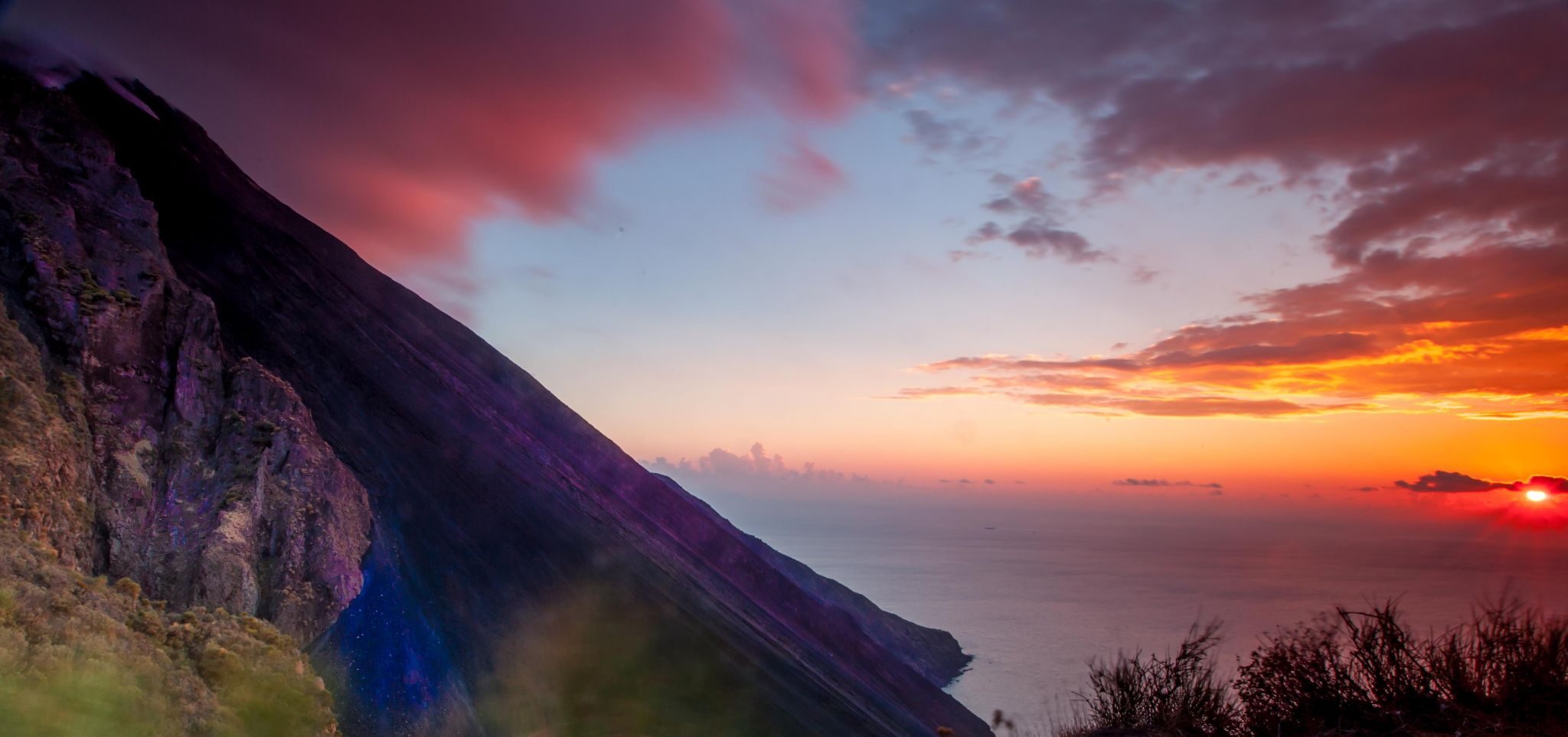 Sunset on the side of the Volcano Stromboli, Italy
