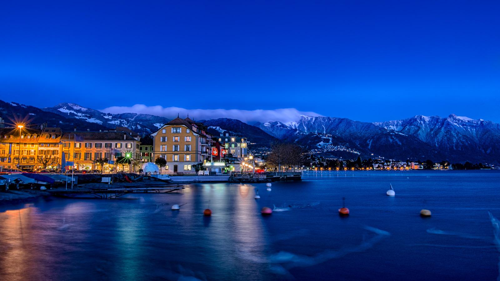 Vevey by night, Switzerland