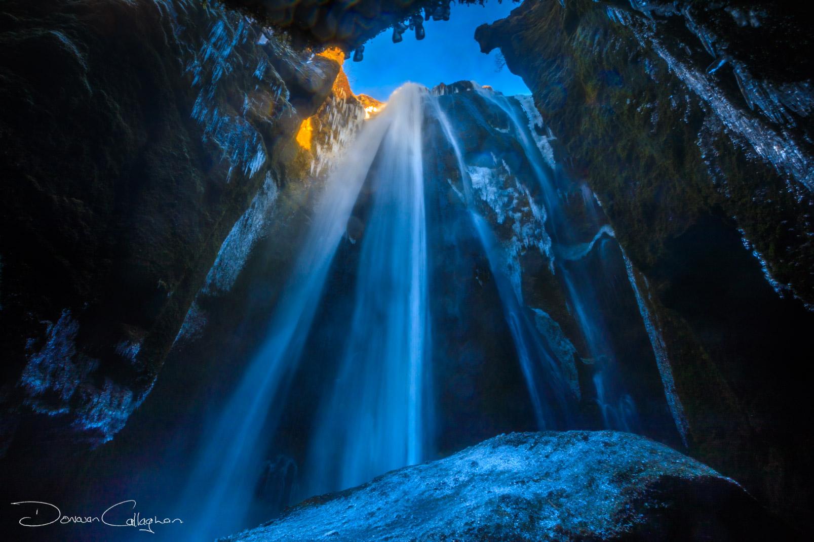 Waterfall inside cave Gljúfrabúi Iceland, Iceland