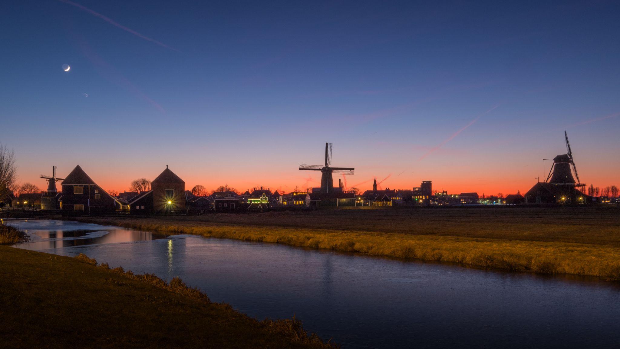 Zaanse Schans Moon Rise, Netherlands