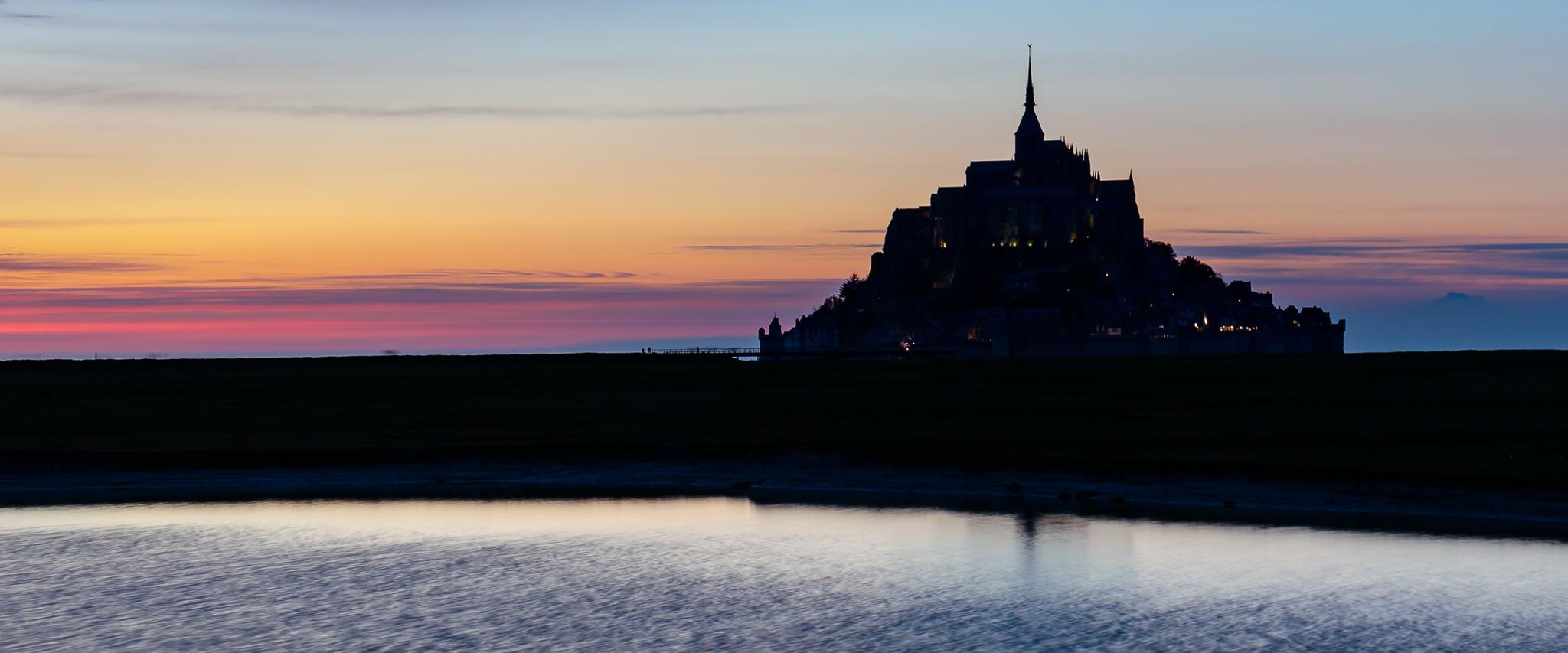 Dusk twilight at 'Le Mont-Saint-Michel', France