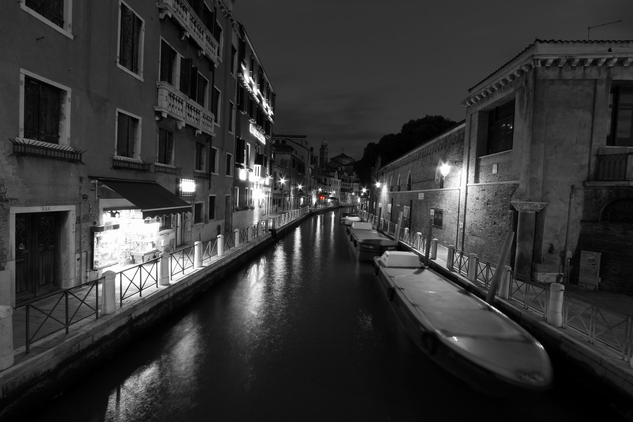 Grand Canal, B&W, Italy