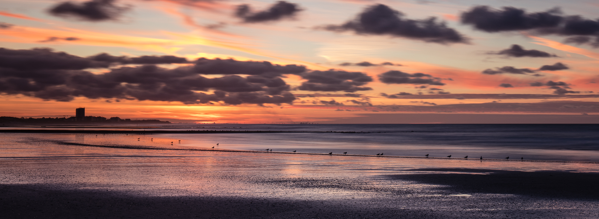 Beach at low tide, just after sunset..., Belgium