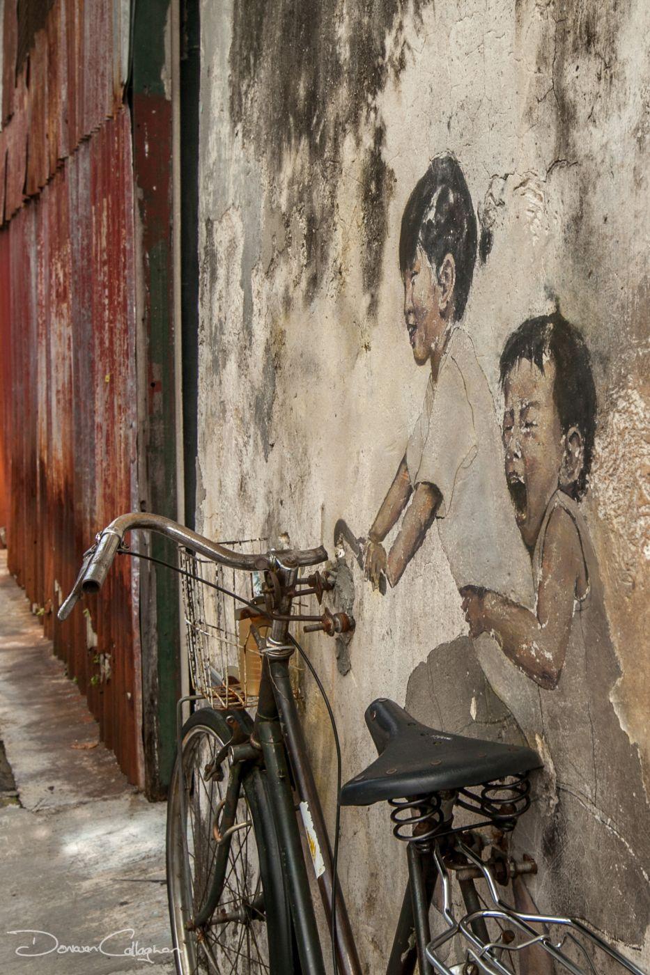 Penang Street art Georgetown 2 on bike, Malaysia