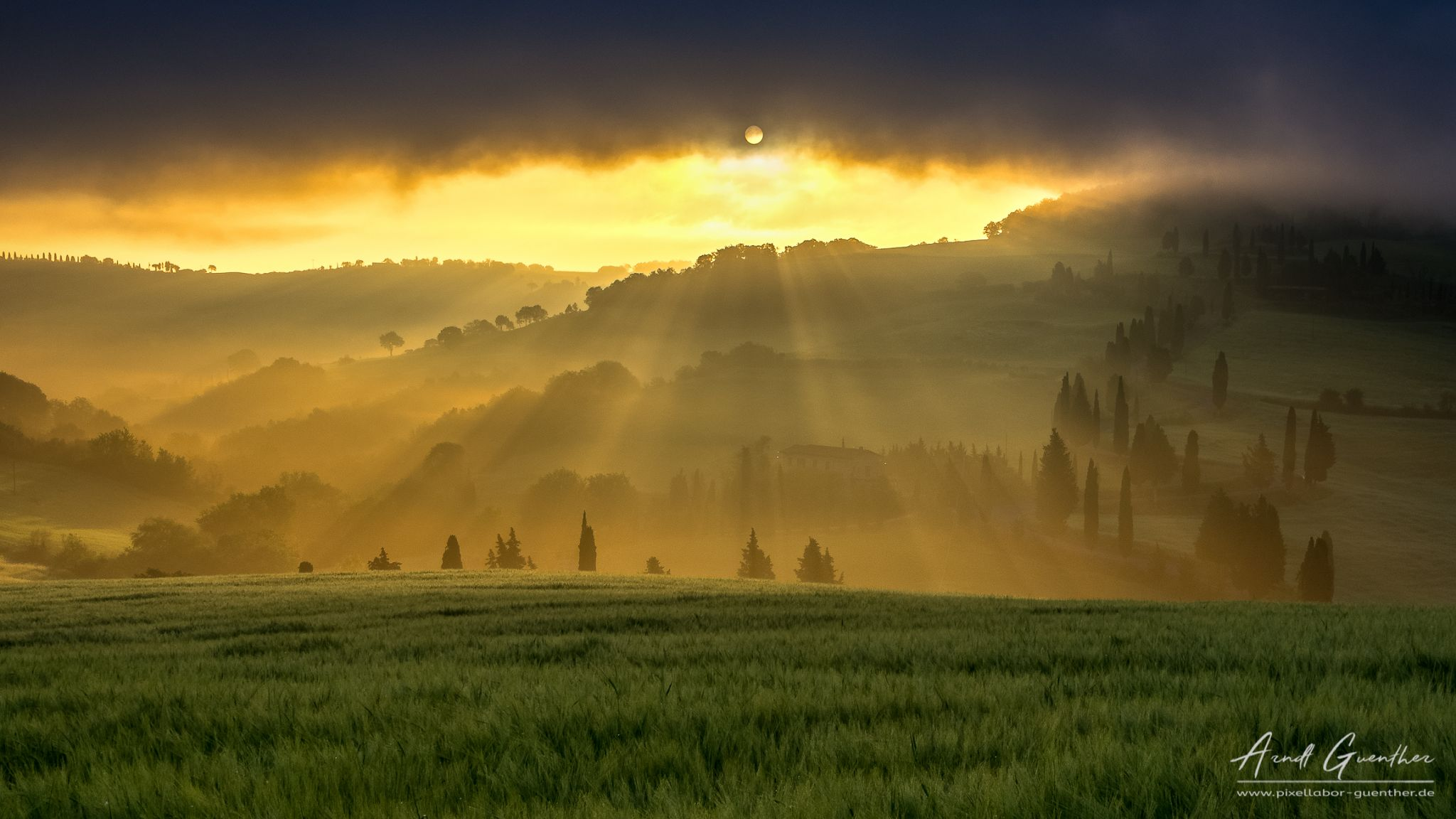 Sunrise over Val d'Orcia, Italy