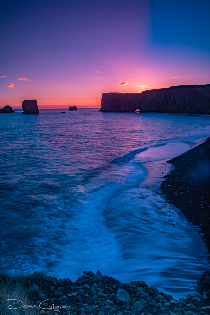 Sunset looking at Dyrhólaey, Iceland