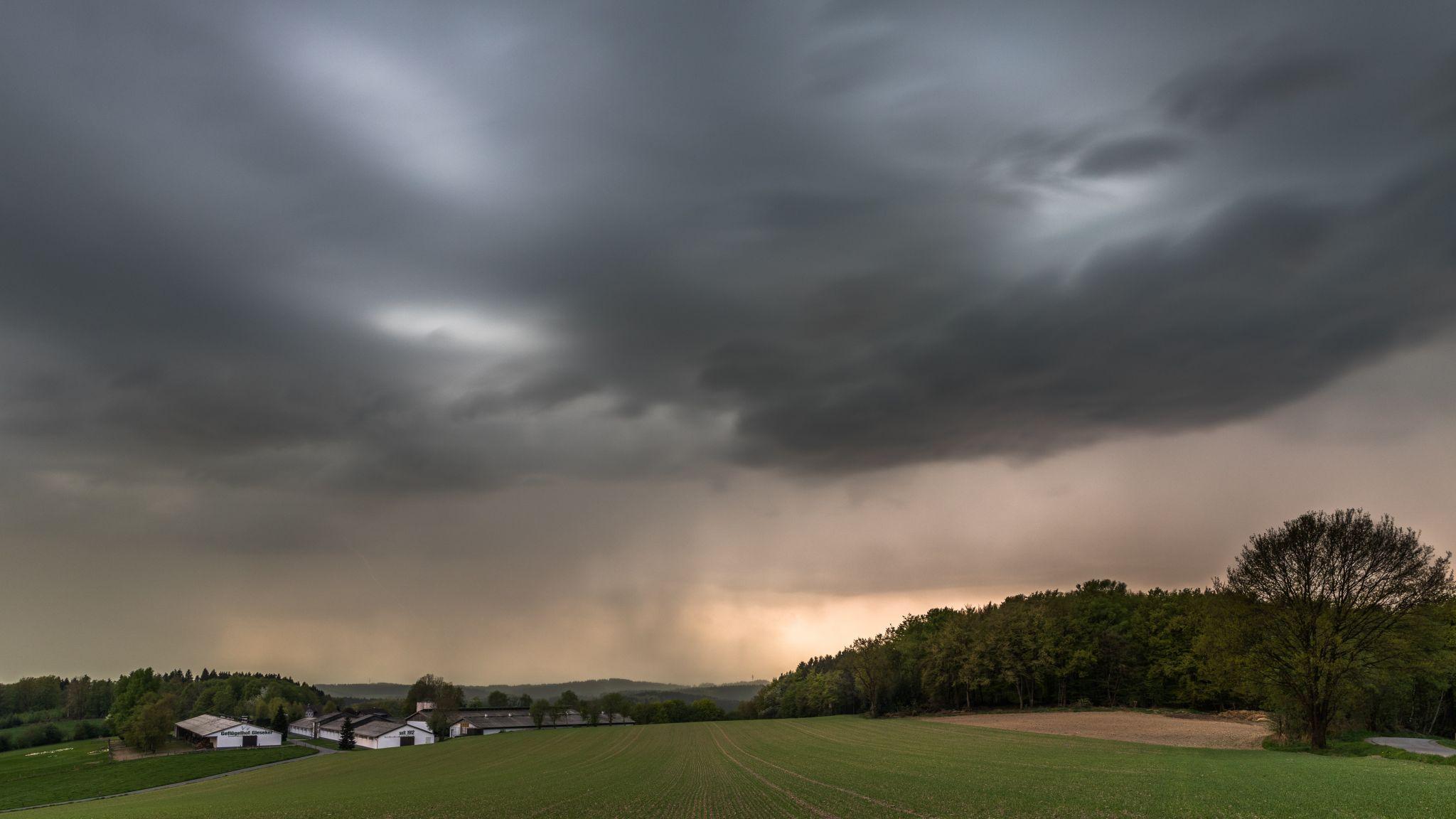 thunderstorm arrives at Kreisch, Sauerland, Germany
