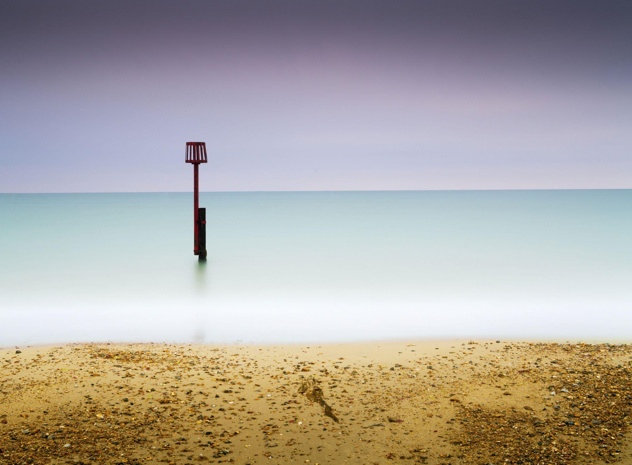 A High-Tide Marker on Swanage Bay, United Kingdom