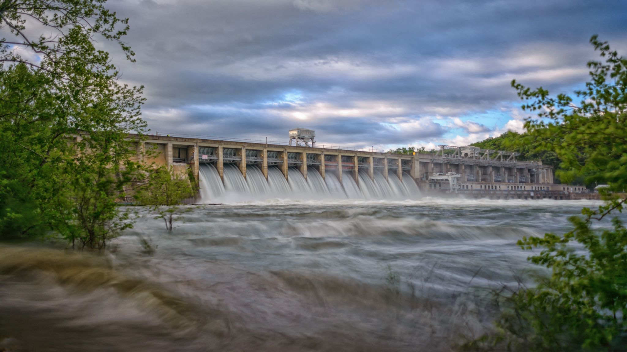 Bagnell Dam with all floodgates open, USA