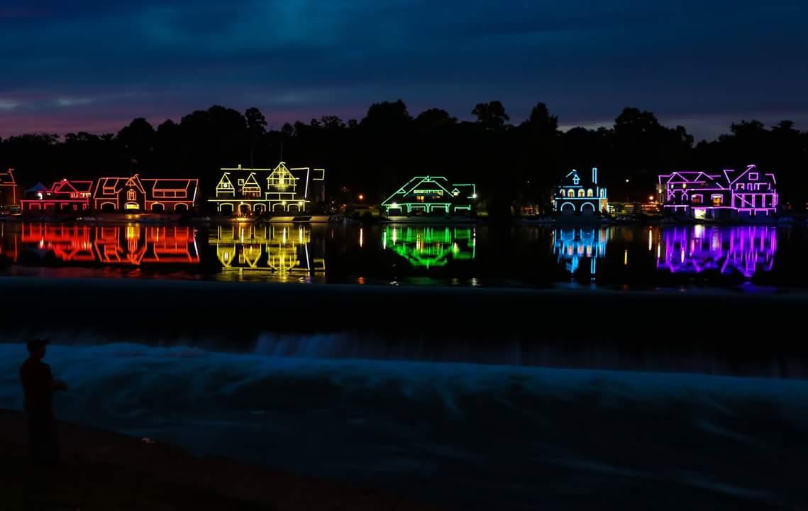 Boathouse Row at Midnight, USA