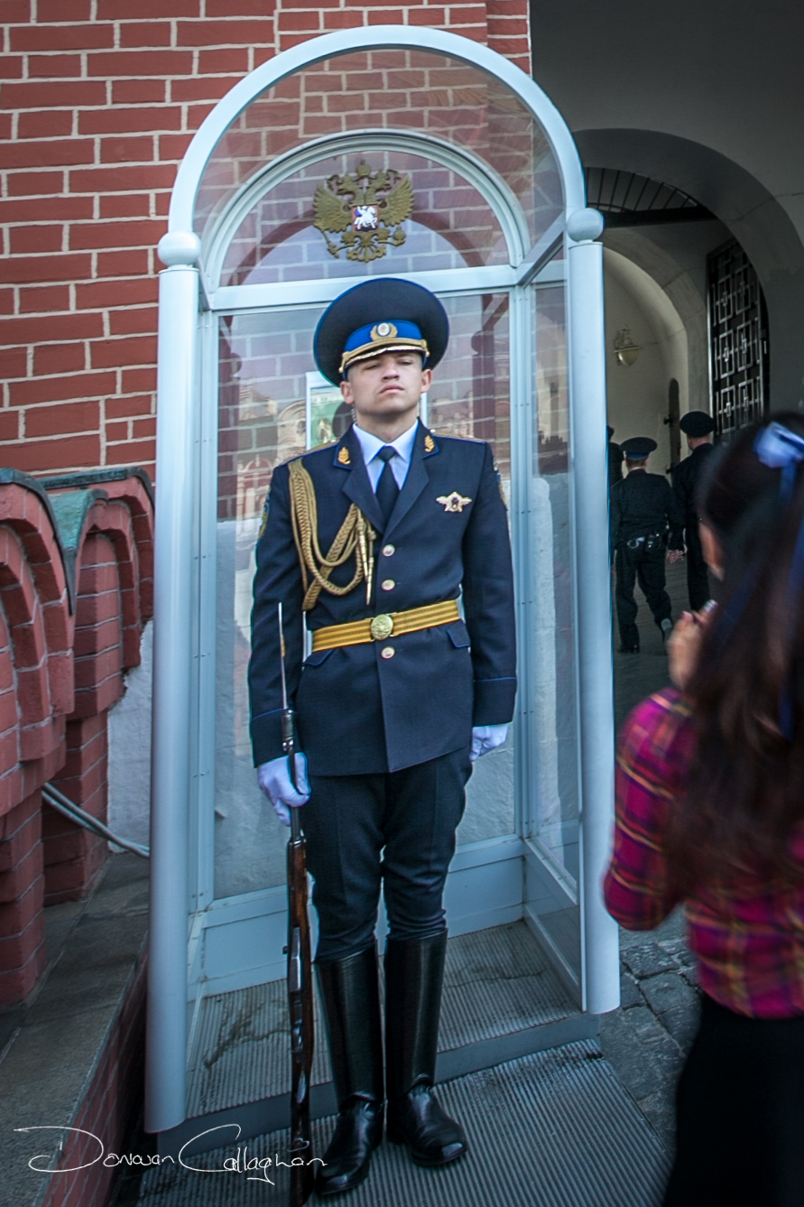Guard at the entrance to the Kremlin Moscow, Russian Federation
