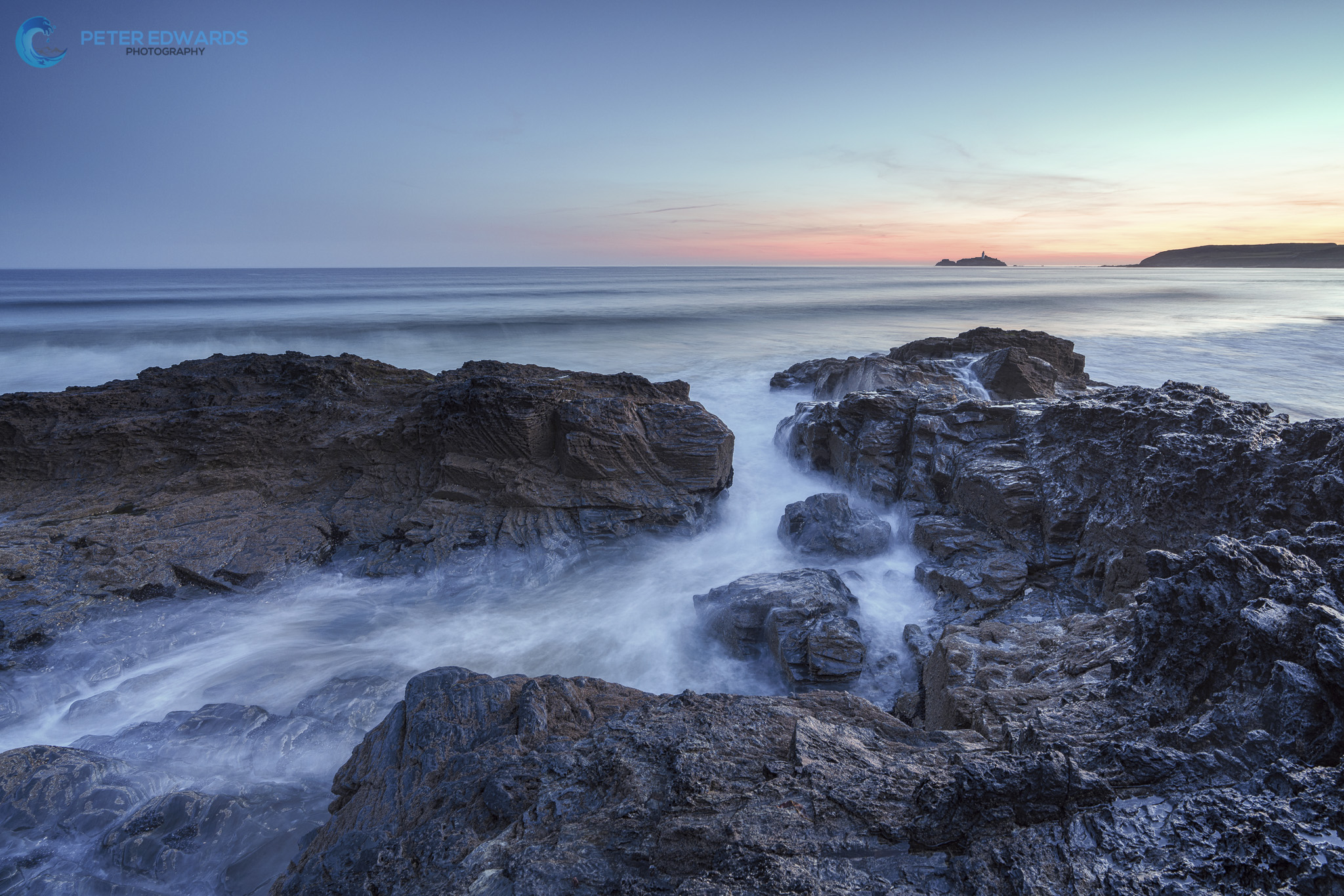 Gwithian Sunrise,Godrevy Lighthouse from Gwithian., United Kingdom