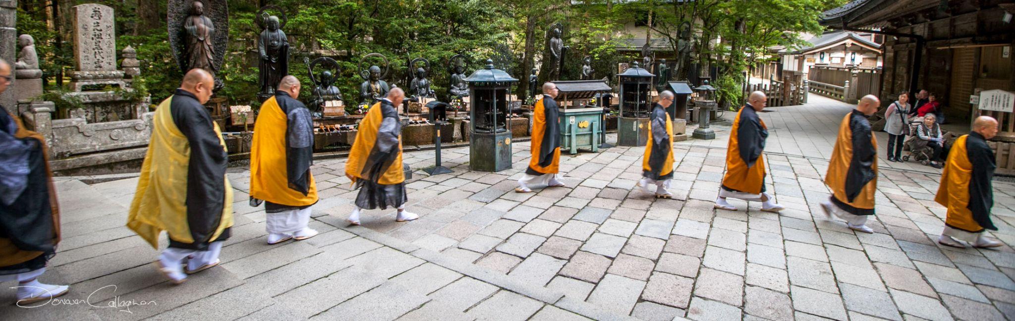 Koyasan Monks leaving after prayer, Japan