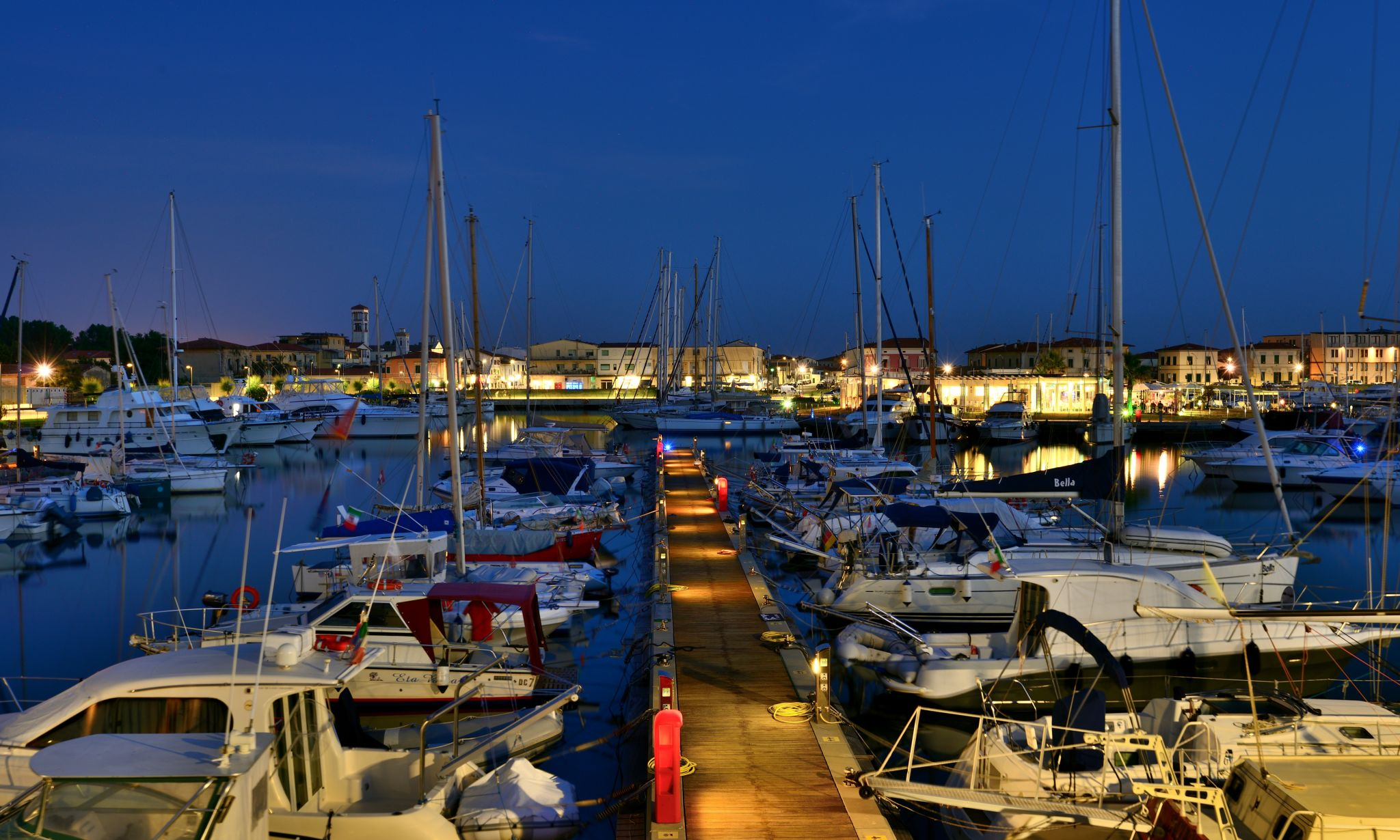 Marina di Pisa at night, Italy