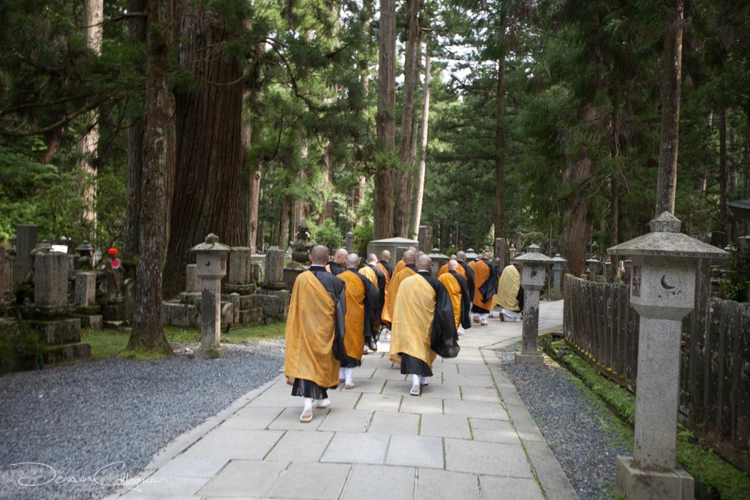 Monks walking through the Okunoin Cemetery Koyasan, Japan
