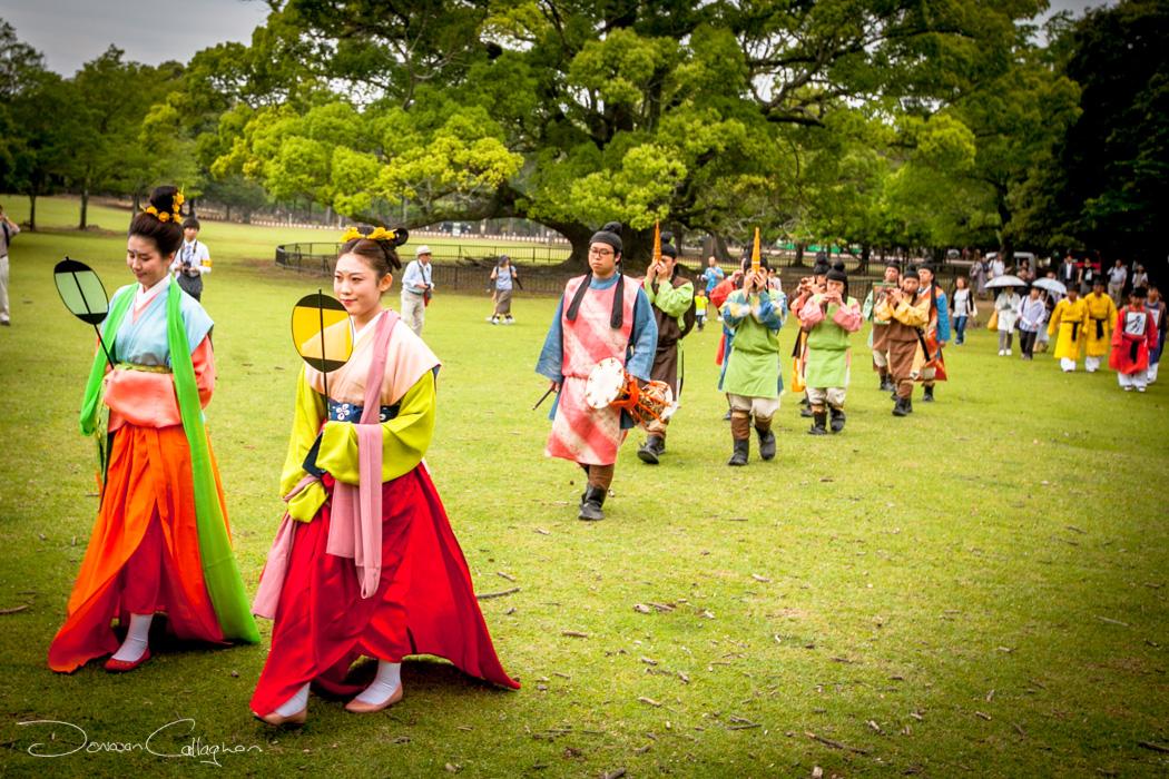 Procession before the ancient football game Kemari Nar, Japan