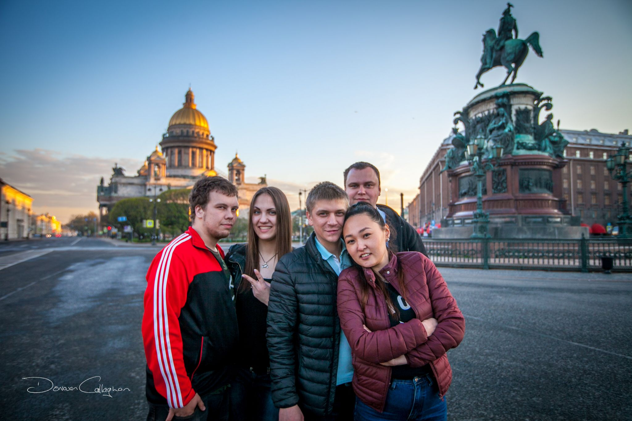 St Isaacs Cathedral with locals St Petersburg, Russian Federation