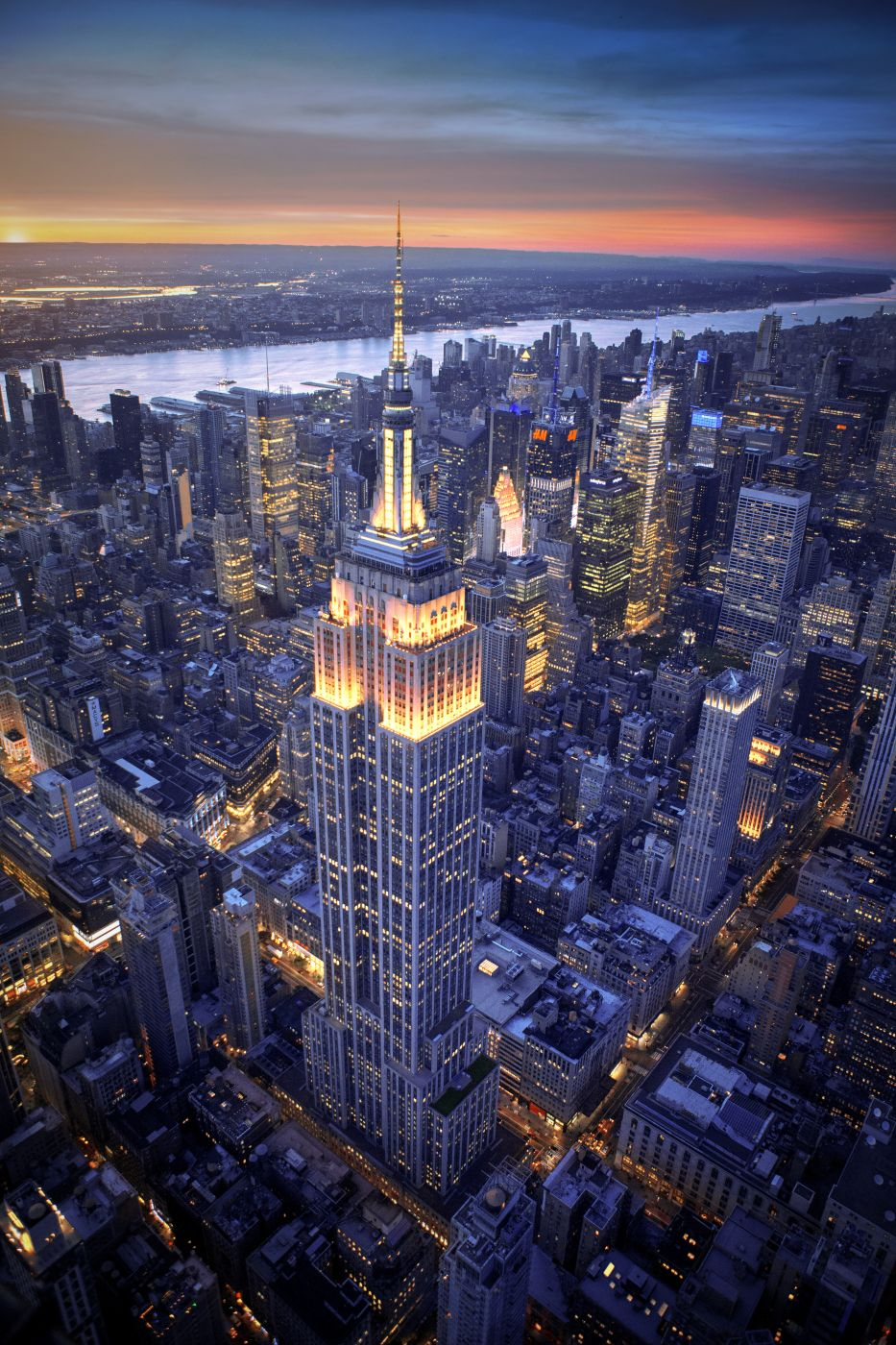 Empire State building from Heli, USA