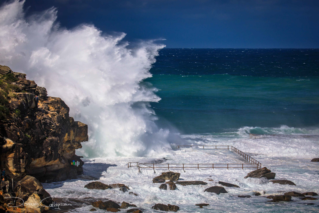 north curl curl pool with huge wave  australia