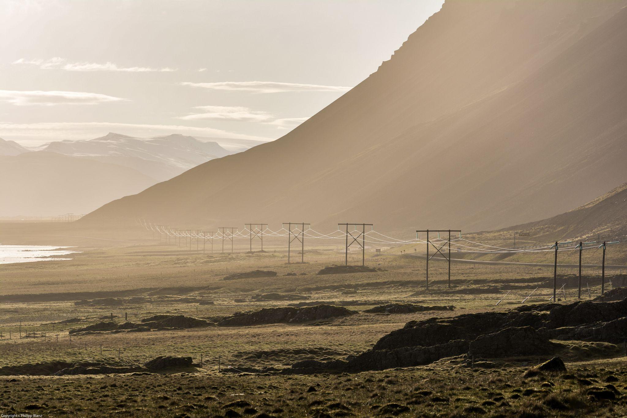 Power pole near Stokksnes, Iceland